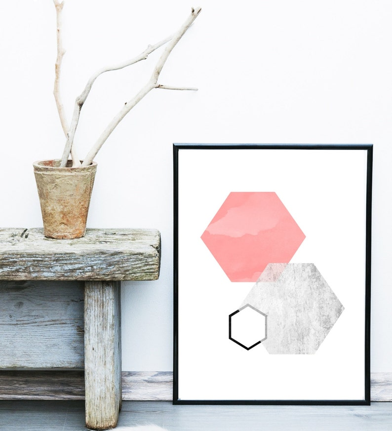 Geometric Abstract Instant Download Hexagon Wall Art Pink And Grey Abstract Art Print Printable Art Geometric Art Geometric Wall Art