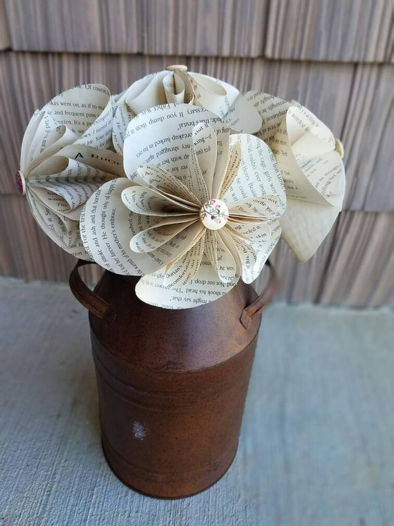 Paper Flowers Tea Stained Paper Flowers Book Page Flowers Etsy