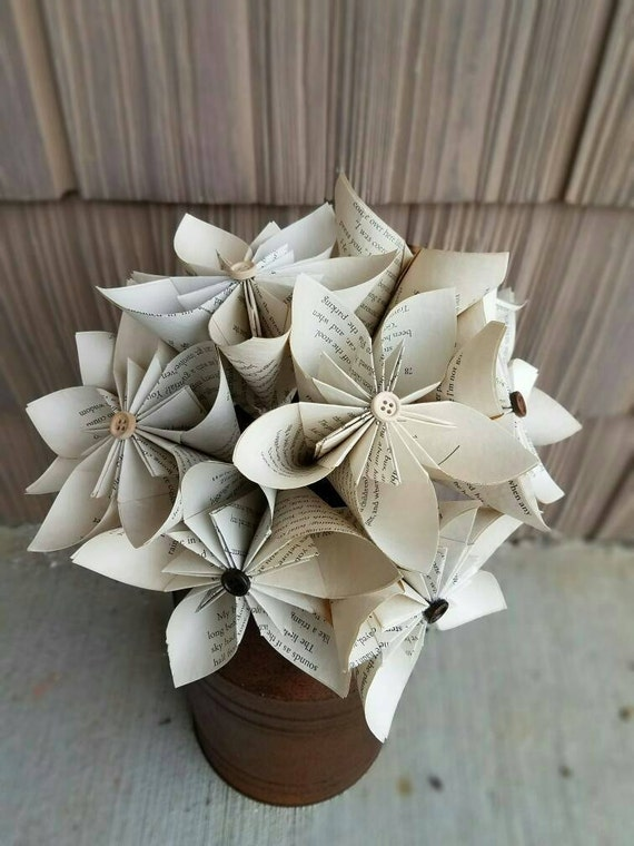Book Paper Flowers Paper Flower Paper Book Flowers Tea Etsy