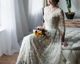 f3d0ef41824 Vintage Wedding dress   Lace wedding dress with long lace sleeves   3 4  sleeves Boho Wedding Dress