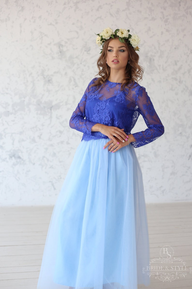 889b3c91af6 Polina    Wedding lace top with long sleeves Bridesmaids