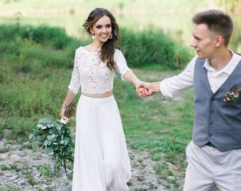 Wedding separates, Lace wedding dress, Long chiffon wedding dress, Wedding crop top, Bridal wedding dress