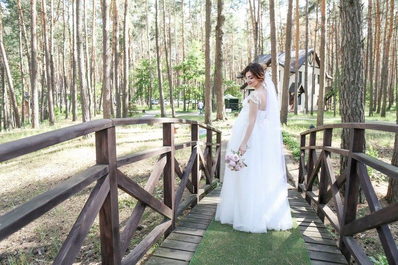 Lace wedding dress  White off wedding dress with air tulle skirt  Long wedding dress