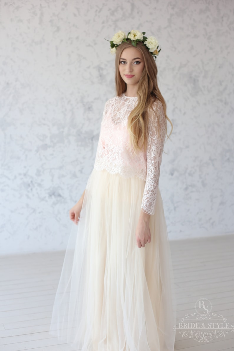 10c6d170c8b Jane    Peach Wedding lace top Long sleeve bridesmaids lace