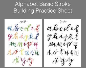 Alphabet Basic Stroke Building Practice Sheet | Lowercase Alphabet | Calligraphy Guide | Brush Lettering Tutorial