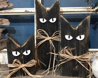 Wood Cats | Halloween Decor | Fall Decor | Shelf Sitters | Spooky Decor