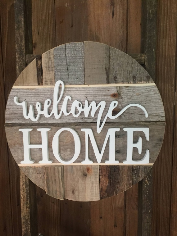 Welcome Home Pallet Sign Hand Cut Wood Sign Welcome Home Etsy