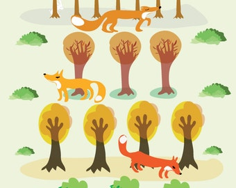 foxes in the woods