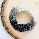 Gorgeous Ombré Moon Phases Yoga/Meditation Mala Bracelet w/ Star Cut Black Onyx, Labradorite, Moonstone