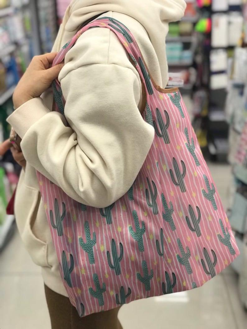 Reusable washable Grocery bag  Shopping bag  Folding bag  tote bag  shoulder bag  foldable bag