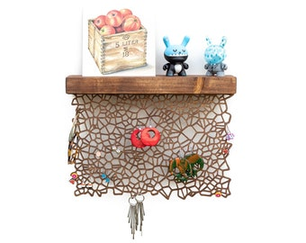 Earring holder ORGANIC - natural cell pattern look - wall mount earring storage - wooden earring display - nature inspired wall decoration