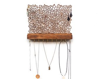 Wall Mounted Jewelry Holder for Earrings Necklaces Bracelets - Handmade Wooden Rack with Hooks  - Nature Inspired Modern Jewellery Display