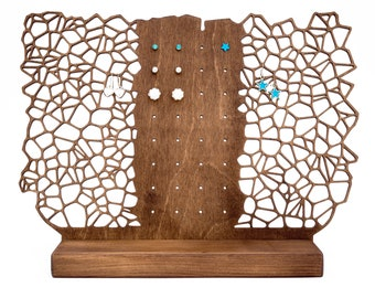 Earring Holder Handmade from Wood - Display for Studs Post Dangle Earrings - Modern Elegant Eco-Friendly Jewellery Accessories Gift for Her