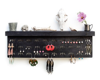 Black handmade earring shelf - Eco-friendly hanging jewelry organizer made from wood - Wall mount tray board for photos pictures keepsakes