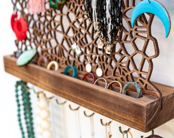 Jewelry organizer with hooks and ring storage -  for earrings necklaces rings bracelets - unique handmade wood wall jewellery display rack