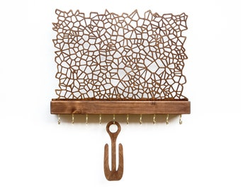 Wall Mounted Jewelry Holder for Earrings Necklaces Bracelets Rings - Handmade Wooden Display with Hooks  - Elegant Modern Jewelry Organizer