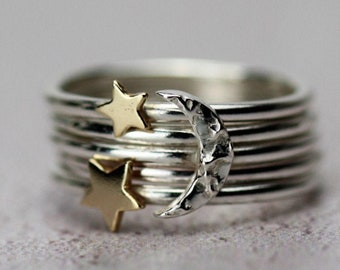 Star and Moon ring, Silver moon stacking ring, gold star ring, silver moon ring, Celestial ring, Gold stacking ring, silver stacking ring,