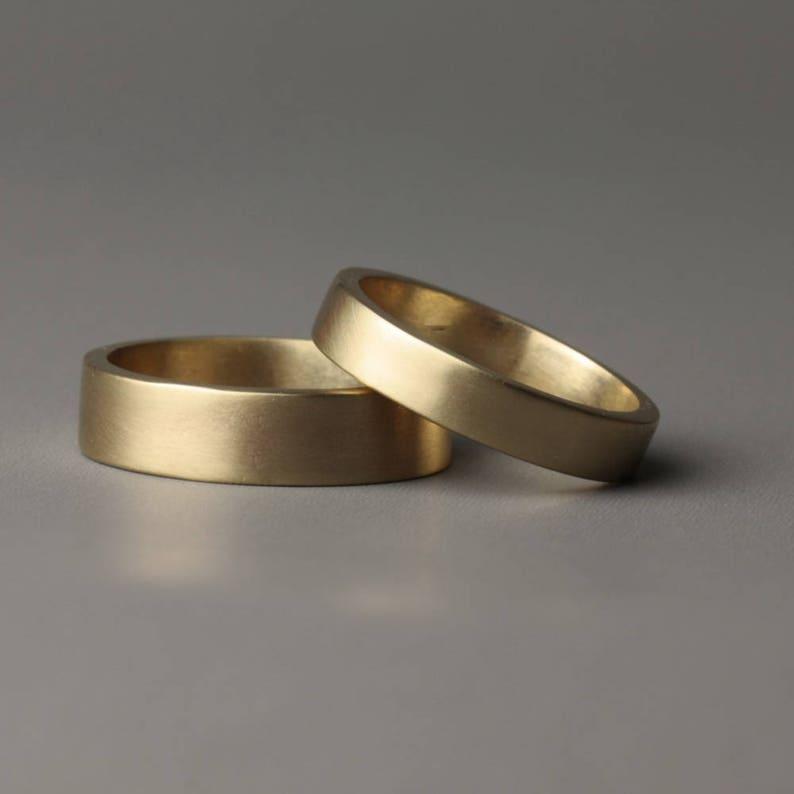 2cc47e126ddd2 Flat Band matching gold Wedding ring bands, his and hers matching gold  wedding rings, 6 mm and 4 mm rose gold wedding rings, brushed gold,