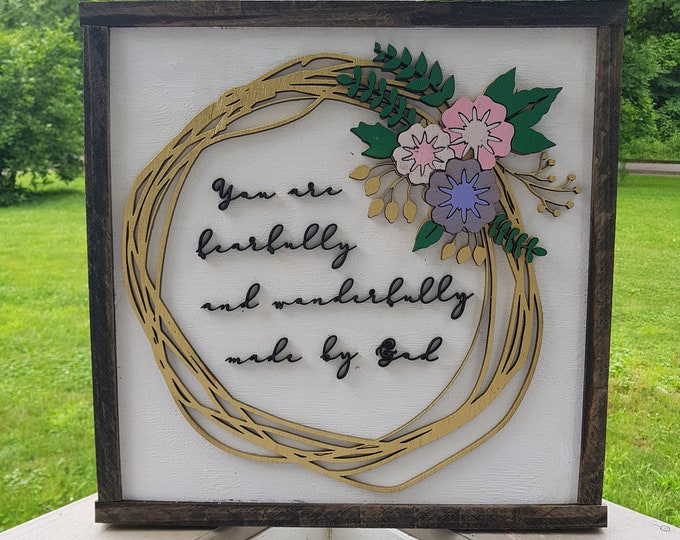 Featured listing image: Fearfully and Wonderfully Made, Hoop Wreath, Flowers, Raised Text, 3D, Floral Sign, Bible Verse, Wooden, Wood, 3D, Handmade, Customize