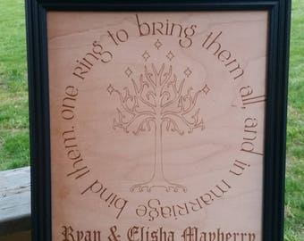 Lotr Wedding Gift White Tree Of Gondor One Ring Quote Lord Etsy