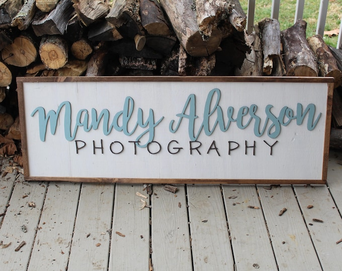 Featured listing image: office sign, large business sign custom or personalized to your logo graphic framed wood plaque branding tool signage rustic store farmhouse