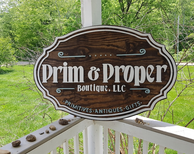 Featured listing image: Business Sign, Oval, 3D, Large, Custom, Antique Store, Indoor, Outdoor, Small Business, Logo, Business Logo, Laser Cut, Wood, Sign farmhouse