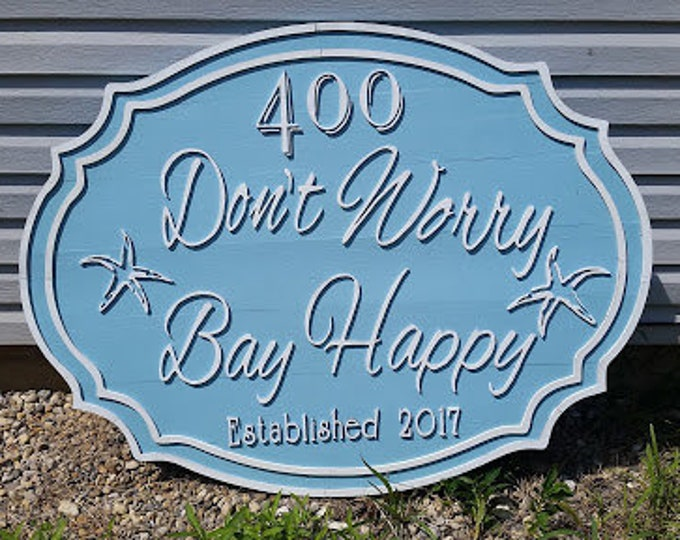 Featured listing image: Large beach house sign, Bay Sign, address sign Established Sign, Exterior, Outdoor, Wooden, Wood, outdoor door beachy theme baby blue white