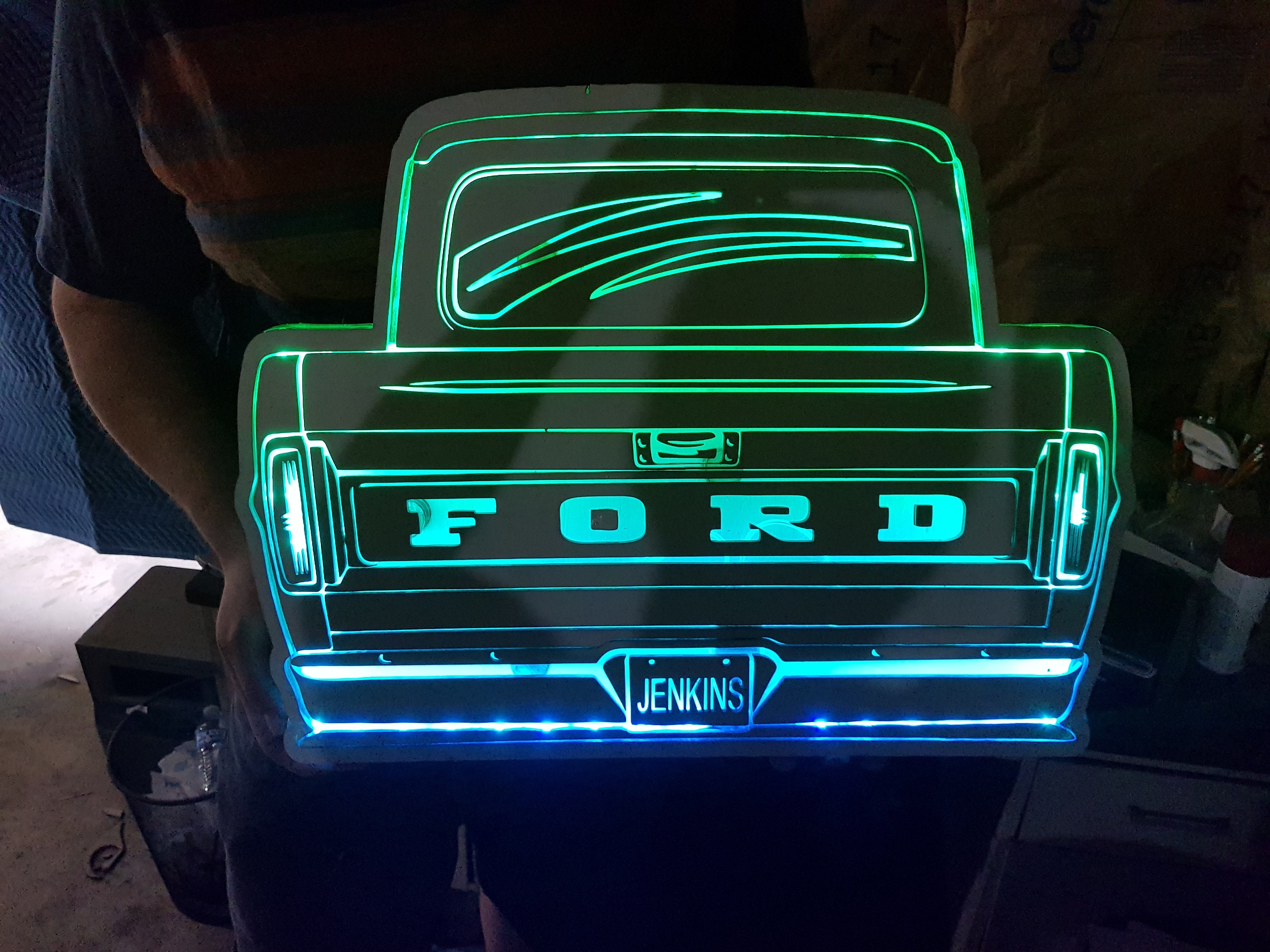Custom Wood Lit Truck Sign Car Your Custom License Plate Name