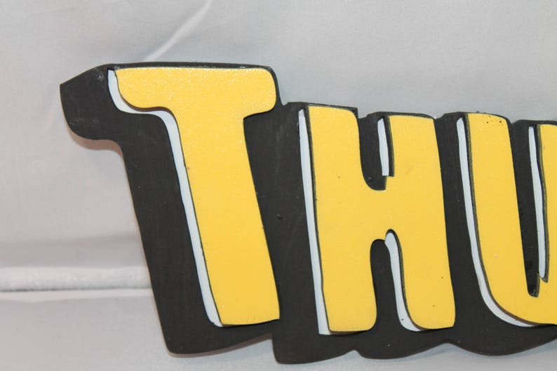 Thud, Comic Book Word of Action, Sound Effect, Super Hero, Sign, Wooden  Words, Laser Cut Out, Wood Cut Out,Footstepsinthepast