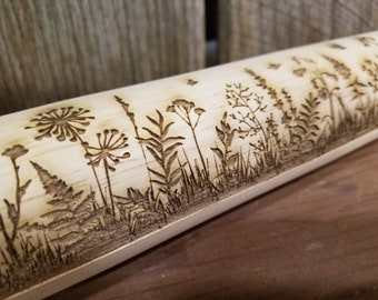 Wild Flower, Floral, Garden, Butterflies, 10 Inch Rolling Pin, Pie Crust, Gift, Embossed, pottery, pottery texture roller, cookie stamp