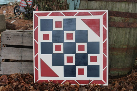 Wood Barn Quilt Handmade Vintage Red Rustic Wood Laser Cut Out,Large Barn Quilt Primitive Mosaic Tulip Flower Floral Barn Decor