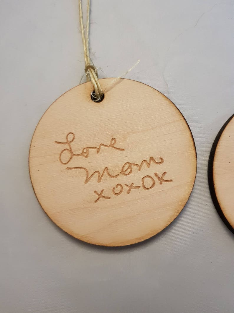 Personalized Ornament Wood Engraving In Memory Of Actual Sketch single sided FootstepsinthePast Actual Handwriting Your Hand Writing