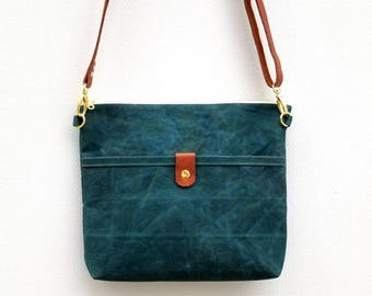 Waxed Canvas Bag, Convertible Crossbody, Canvas and Leather Purse, Zipper Tote, Field Bag, Shoulder Bag