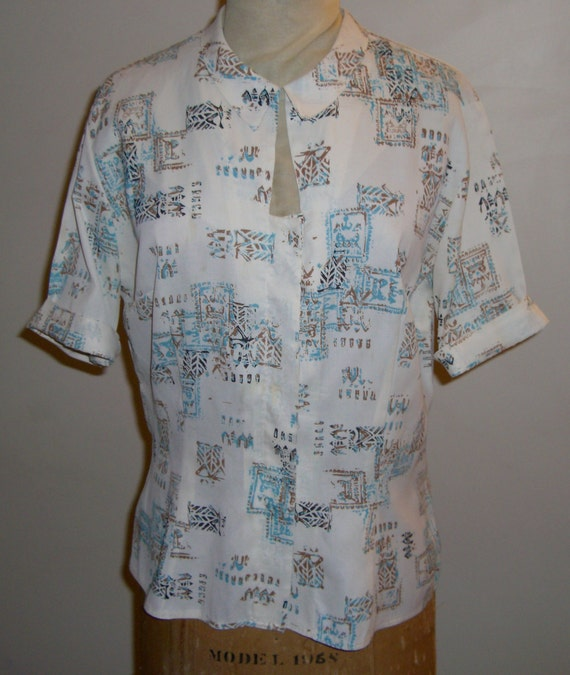 1950s Vintage Womans Rayon Top