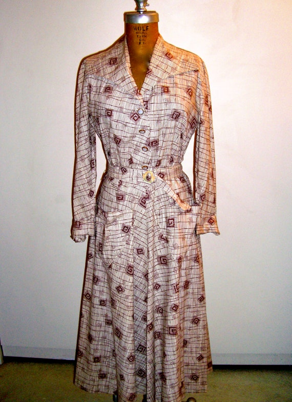 Vintage Cotton  Day Dress 1950's