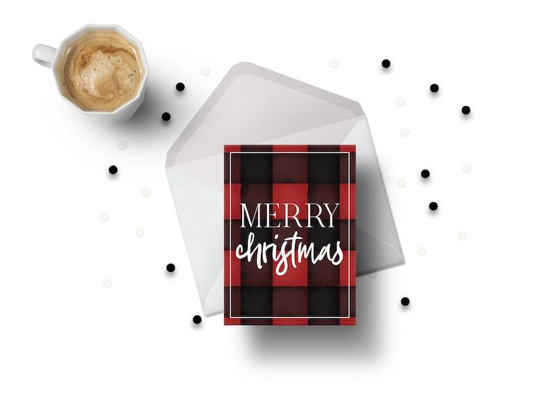 Holiday Buffalo Plaid Merry Christmas Card