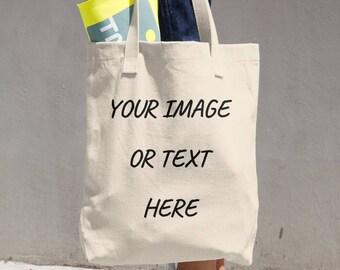 Customized Personalized Bull Denim Woven Cotton Tote Bag