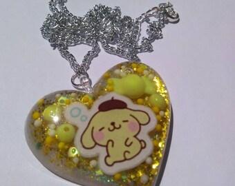 Resin Pompompurin Sanrio Inspired Puffy Heart Necklace Resin Heart Necklace Sanrio Resin