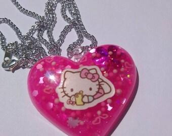 Resin Pink Hello Kitty Sanrio Inspired Heart Necklace Resin Puffy Heart Necklace Sanrio Resin