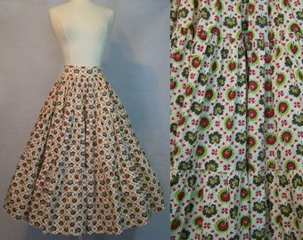Vintage 50s 1950s Floral Novelty Print Crisp Cotton Full Circle Skirt XS Extra Small