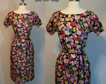 Stunning Vintage 50s DAVID CRYSTAL Silk Floral Bombshell Wiggle Dress S Small