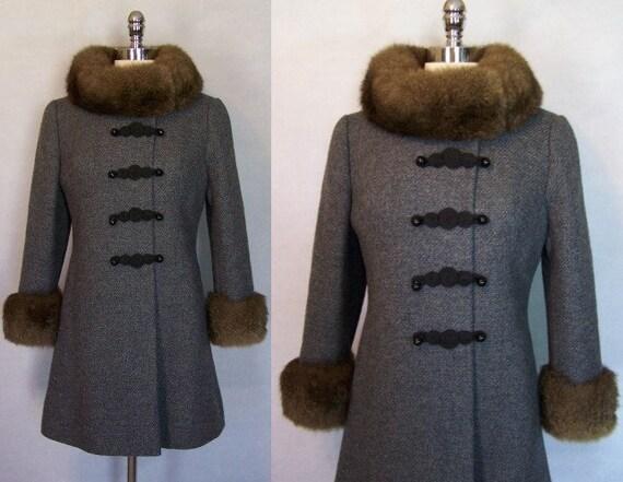 Gorgeous 60s Jackie Stuart Wool Fur Trim Mod Princ