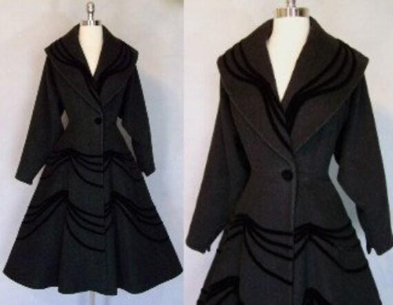 RESERVED  40s 50s SAKS Lilli Ann Style Wool Velvet