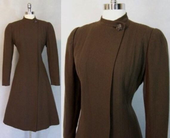 Gorgeous 1930s Brown Wool Princess Coat S M 30s