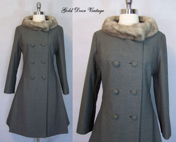 Gorgeous 60s 70s Grey Wool Mink Fur Trim Princess