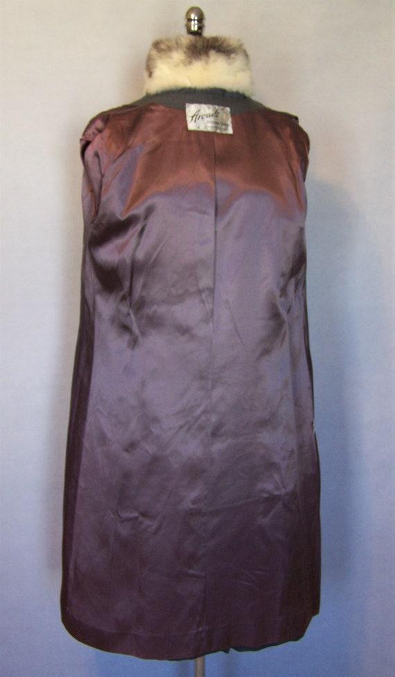Gorgeous 70s Grey Wool Cross Mink Fur Trim Prince… - image 6
