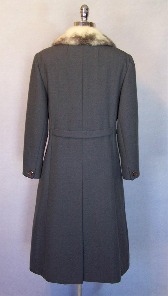 Gorgeous 70s Grey Wool Cross Mink Fur Trim Prince… - image 7