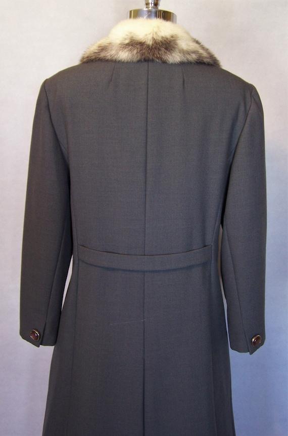 Gorgeous 70s Grey Wool Cross Mink Fur Trim Prince… - image 8