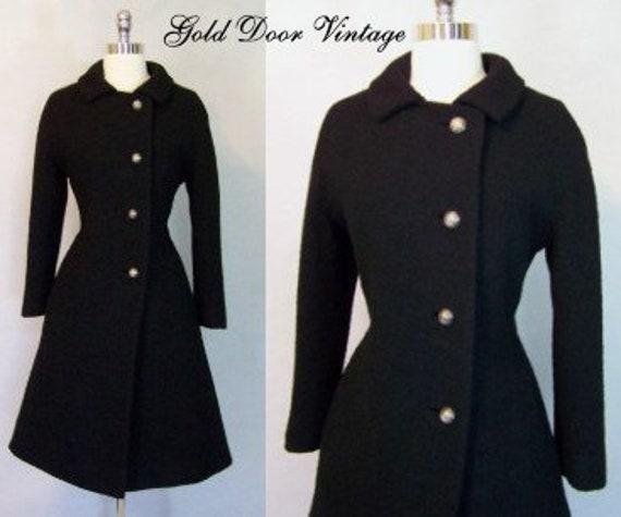 Fabulous 50s Black Boucle' Wool Fit Flare Princess
