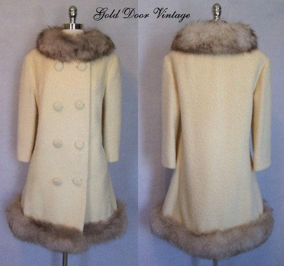 Gorgeous 60s LILLI ANN Mohair Wool Fox Fur Trim Pr